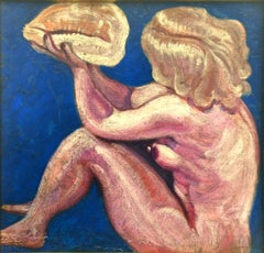 Woman with Shell - Original Oil on Board by Alice Frey - 1960s