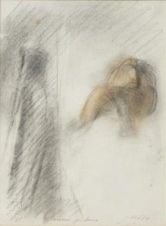 "Study for ""Sense N.4"" - Original Pastel Drawing by Piero Guccione - 1985"