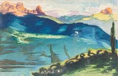 Landscape - Watercolor on Paper by J.-R. Delpech - 1933