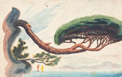 Lonely Tree, Cote d'Azur - Watercolor on Paper by J.-R. Delpech - 1937