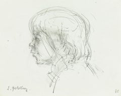 Boy - Original Pencil Drawing by S. Goldberg - Mid 20th Century