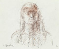 Woman- Original Pencil and Pastel Drawing by S. Goldberg - Mid 20th Century
