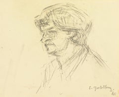 Portrait - Original Pencil Drawing by S. Goldberg - Mid 20th Century