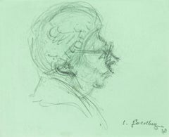 Old Woman - Original Pencil Drawing by S. Goldberg - Mid 20th Century