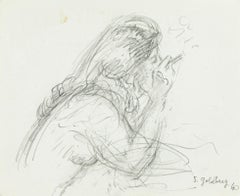 Smoker - Original Pencil Drawing by S. Goldberg - Mid 20th Century