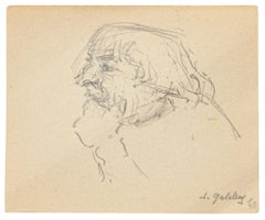 Portrait - Original Pencil and Ink Drawing by S. Goldberg - Mid 20th Century