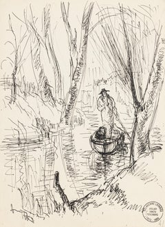 Boatman - Original Pen Drawing by S. Goldberg - Mid 20th Century