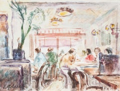 In the Café - Original Pencil and Watercolor by S. Goldberg - Mid 20th Century