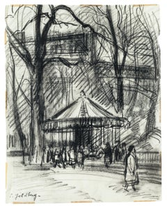 Park - Original Charcoal Drawing by S. Goldberg - Mid 20th Century