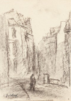 Village - Original Charcoal Drawing by S. Goldberg - Mid 20th Century