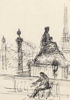 Loneliness in Paris - Original Pen Drawing by S. Goldberg - Mid 20th Century
