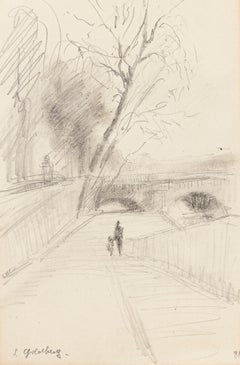 Bridge - Original Pencil Drawing by S. Goldberg - Mid 20th Century