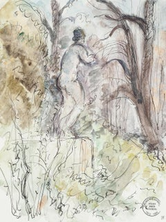 Alone in the Forest - Original Ink and Watercolor by S. Goldberg - 1950s