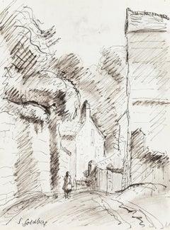 Path - Original Pen Drawing by S. Goldberg - Mid 20th Century