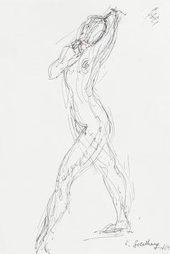 Nude - Original Pen Drawing by S. Goldberg - 1962