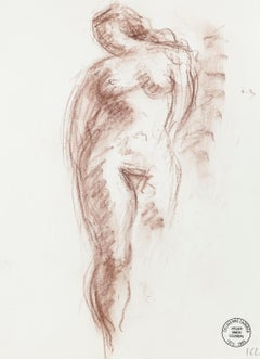 Nude - Original Pencil and Pastel Drawing by S. Goldberg - Mid 20th Century