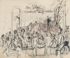 The Meeting - Original Pen and Watercolor- by Gustave Bourgogne - 1933