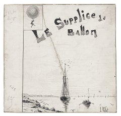Le Supplice du Ballon - Ink and Pencil on Cardboard - L. Vallet - 20th century