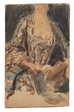 Womanly - Original Drawing in Watercolor on Board - Late 19th Century