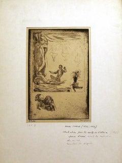 """Illustration for """"Le Conte de Voltaire - Etching by Henri Farge - 1920s"""