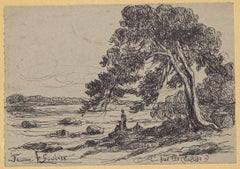 Beach - Original Drawing in Pen by Jeanne le Soudiere - 20th Century
