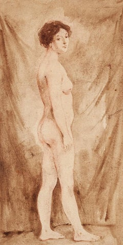 Woman - Original Drawing in Watercolor on Paper - 20th Century