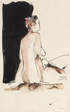 Woman - Original Drawing in Watercolor and China Ink - 1996
