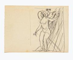 Nude - Original Drawing in Pencil by Gabriele Galantara - 20th Century