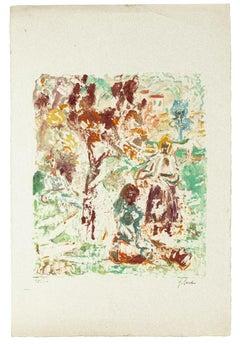 Landscape - Original Monotype on Paper by Giuseppe Cena - 20th Century