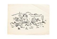 Landscape - Original Drawing in Marker, Felt Tip Pen on Paper - 20th century