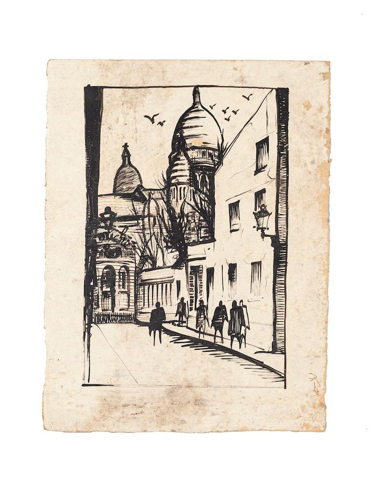 Unknown Figurative Art - Paris Landscape - Original Drawing on Paper - 20th Century
