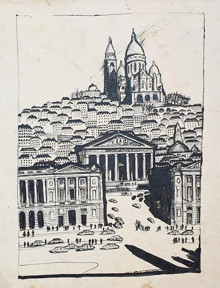 Unknown Landscape Art - Paris Landscape - Original Drawing on Paper - 20th Century