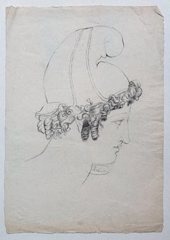 Portrait - Original Drawing in Pencil on Paper by Victor Hubert - Early 1800