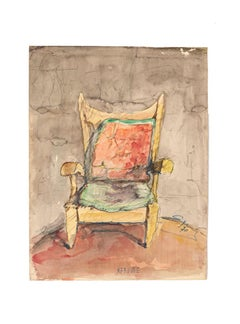 Chair - Original Drawing in Watercolor - 20th Century