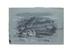 Landscape - Original Drawing in Mixed Media and Pencil on Paper - 20th Century