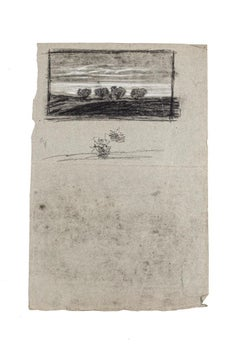 Landscape - Original Drawing in Charcoal and Pencil on Paper - 19th Century