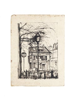 Paris Landscape - Original Drawing on Paper - Mid-20th Century