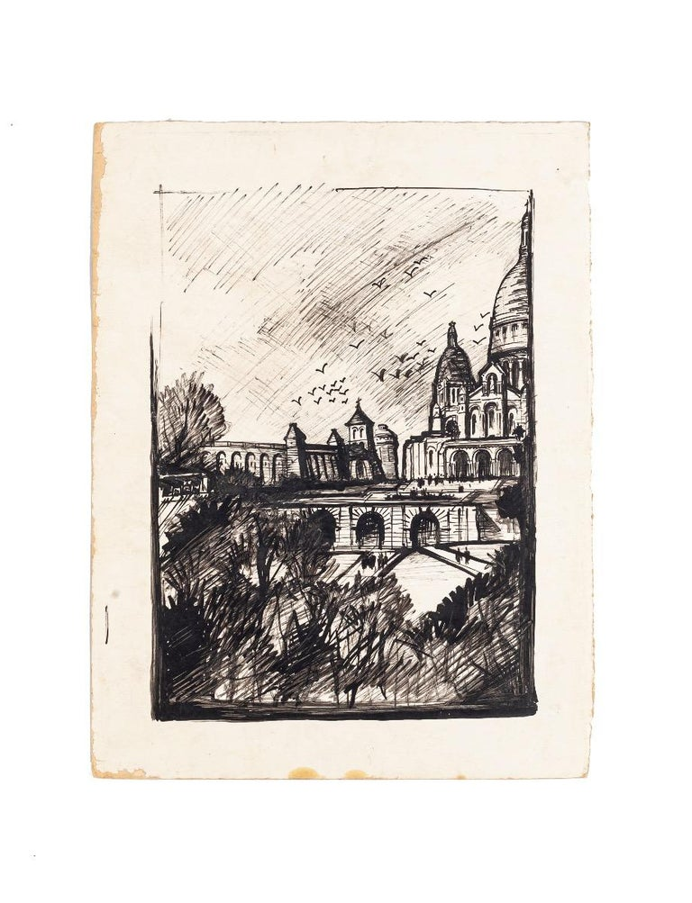 Unknown Landscape Art - Paris Landscape - China Ink and Black Marker on Paper - 1950 ca.