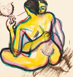 Couple - Original Drawing in Watercolor - 20th Century
