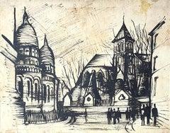 Basilica of the Sacred Heart of Paris - Original Drawing - 20th century