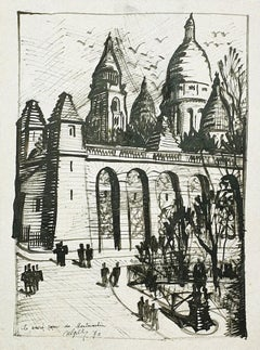 Basilica of the Sacred Heart of Paris - Original drawing - 1970