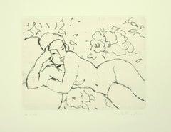 Lying Nude - Original Etching by Aldo Salvadori - 1964