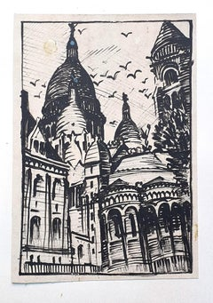 Basilica of the Sacred Heart of Paris - Original Drawing - 1950 ca.