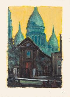 Basilica of the Sacred Heart of Paris - Original Oil Painting - 20th century