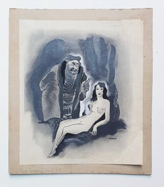 Nude - Original Drawing in Mixed Media on Paper - 1932