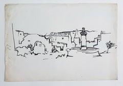 Landscape - Original China Ink on Paper by René Gouast - 1950