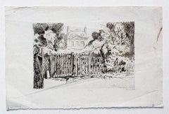Mansion - Original Etching on Paper by Ernest Herchez - 20th Century