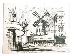 Moulin Rouge - Original China Ink on Paper - 20th Century