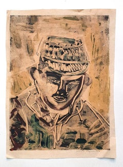 Portrait - Original Drawing in Mixed Media on Paper - 1957