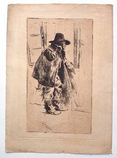 Old Man - Original Etching on Paper by Henri Piere Jamet - 19th Century